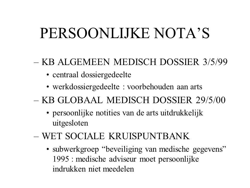 PERSOONLIJKE NOTA'S –KB ALGEMEEN MEDISCH DOSSIER 3/5/99 centraal dossiergedeelte werkdossiergedeelte : voorbehouden aan arts –KB GLOBAAL MEDISCH DOSSI