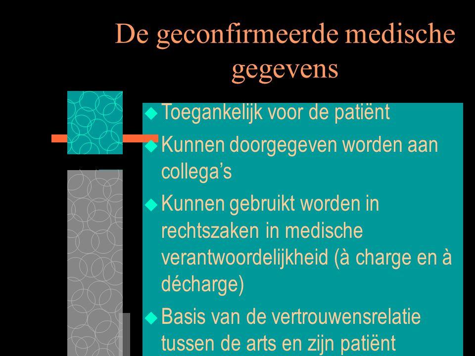 7/8/00 XIIIe Wereldcongres Medisch Recht12 De geconfirmeerde medische gegevens  Toegankelijk voor de patiënt  Kunnen doorgegeven worden aan collega'
