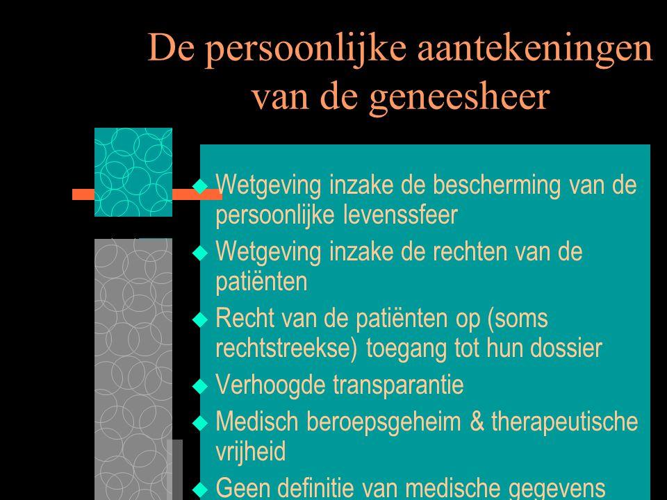 7/8/00 XIIIe Wereldcongres Medisch Recht2 De persoonlijke aantekeningen van de geneesheer  Wetgeving inzake de bescherming van de persoonlijke levens