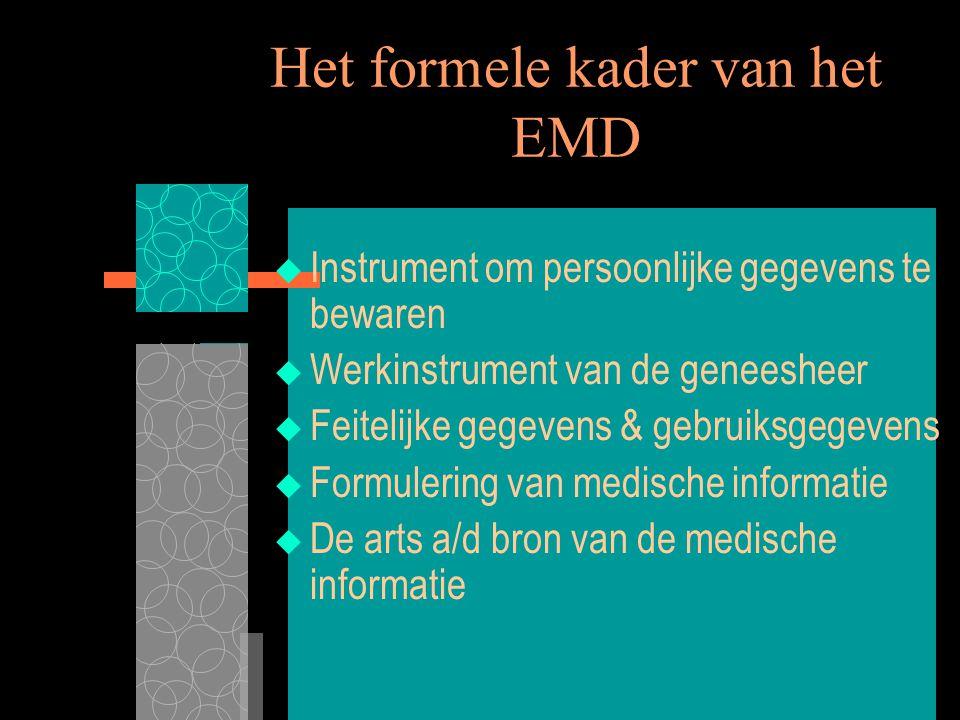 7/8/00 XIIIe Wereldcongres Medisch Recht3 Het formele kader van het EMD  Instrument om persoonlijke gegevens te bewaren  Werkinstrument van de genee