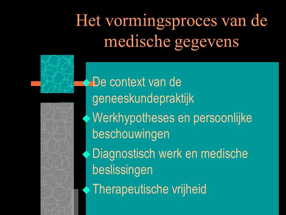 7/8/00 XIIIe Wereldcongres Medisch Recht7 Het vormingsproces van de medische gegevens  De context van de geneeskundepraktijk  Werkhypotheses en pers