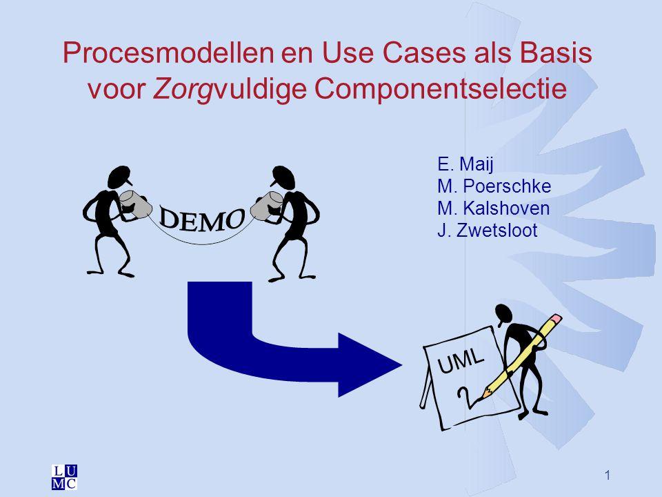 1 Procesmodellen en Use Cases als Basis voor Zorgvuldige Componentselectie UML E. Maij M. Poerschke M. Kalshoven J. Zwetsloot