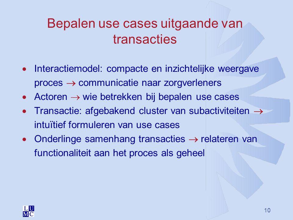10 Bepalen use cases uitgaande van transacties  Interactiemodel: compacte en inzichtelijke weergave proces  communicatie naar zorgverleners  Actore