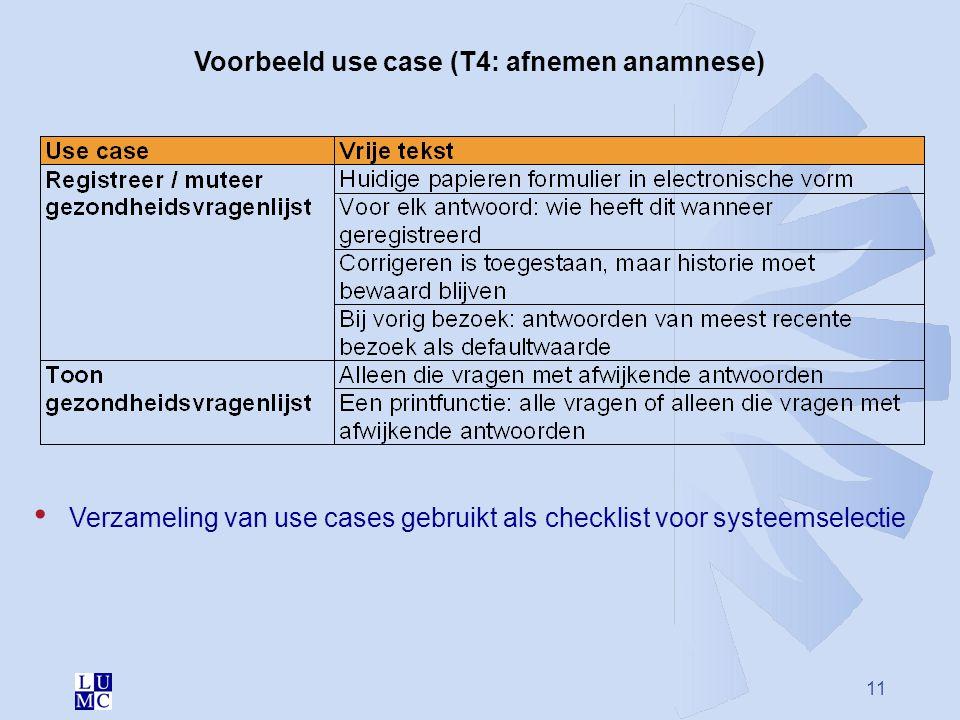 11 Voorbeeld use case (T4: afnemen anamnese) Verzameling van use cases gebruikt als checklist voor systeemselectie