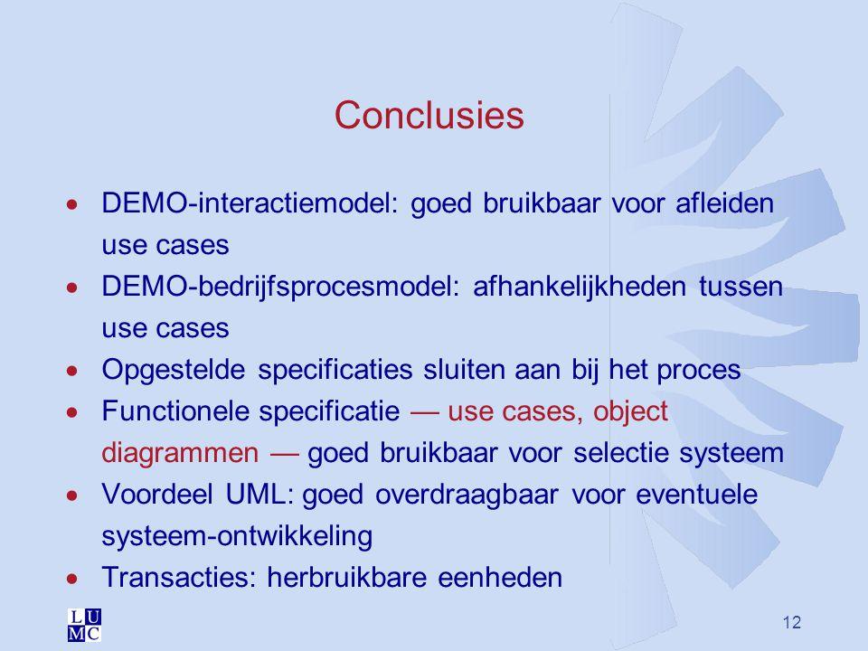 12 Conclusies  DEMO-interactiemodel: goed bruikbaar voor afleiden use cases  DEMO-bedrijfsprocesmodel: afhankelijkheden tussen use cases  Opgesteld