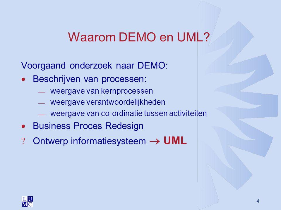 4 Waarom DEMO en UML? Voorgaand onderzoek naar DEMO:  Beschrijven van processen:  weergave van kernprocessen  weergave verantwoordelijkheden  weer