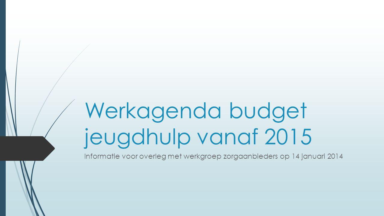 Werkagenda budget jeugdhulp vanaf 2015 Informatie voor overleg met werkgroep zorgaanbieders op 14 januari 2014