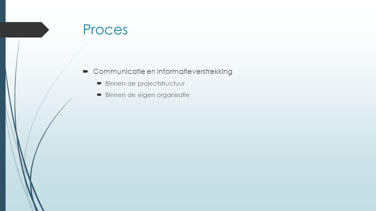 Proces  Communicatie en informatieverstrekking  Binnen de projectstructuur  Binnen de eigen organisatie