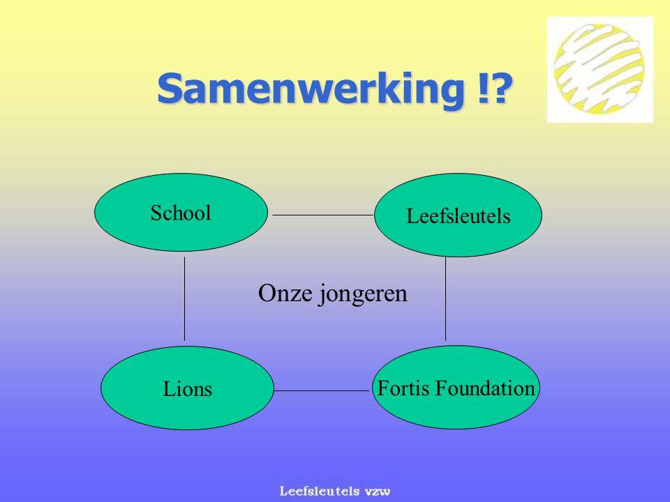 Samenwerking !? Onze jongeren School Leefsleutels Lions Fortis Foundation