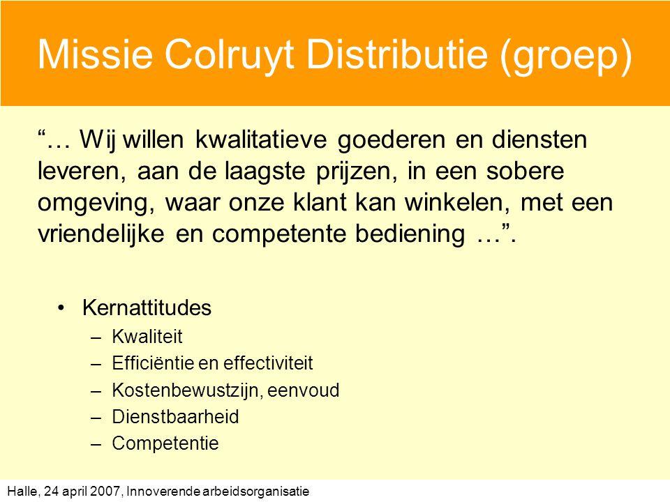 Halle, 24 april 2007, Innoverende arbeidsorganisatie Missie Colruyt Distributie (groep) Kernattitudes –Kwaliteit –Efficiëntie en effectiviteit –Kostenbewustzijn, eenvoud –Dienstbaarheid –Competentie … Wij willen kwalitatieve goederen en diensten leveren, aan de laagste prijzen, in een sobere omgeving, waar onze klant kan winkelen, met een vriendelijke en competente bediening … .