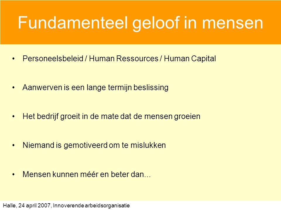 Halle, 24 april 2007, Innoverende arbeidsorganisatie Fundamenteel geloof in mensen Personeelsbeleid / Human Ressources / Human Capital Aanwerven is ee