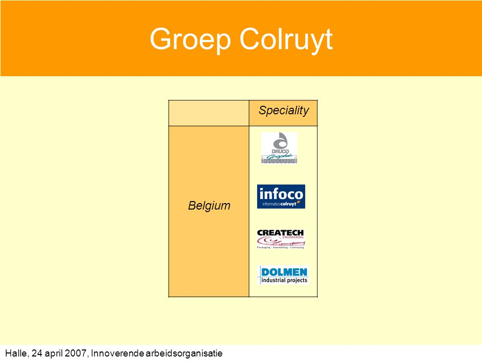 Halle, 24 april 2007, Innoverende arbeidsorganisatie Groep Colruyt Speciality Belgium