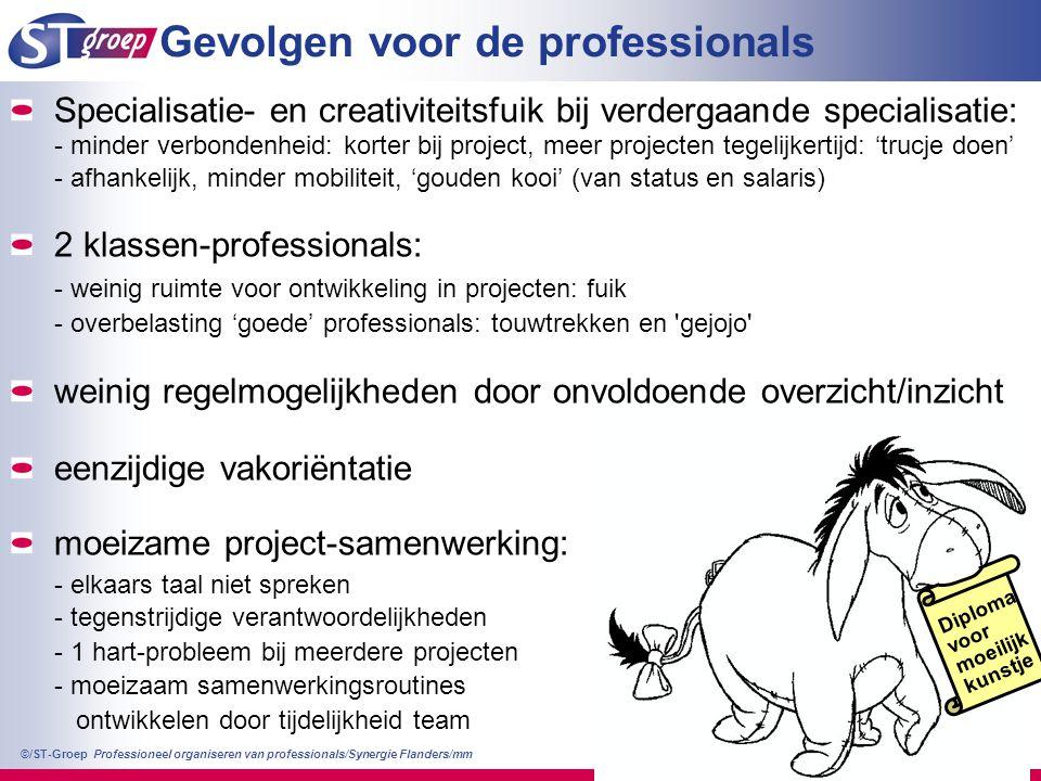 Professioneel organiseren van professionals/Synergie Flanders/mm ©/ST-Groep 12 Gevolgen voor de professionals Diploma voor moeilijk kunstje Specialisa
