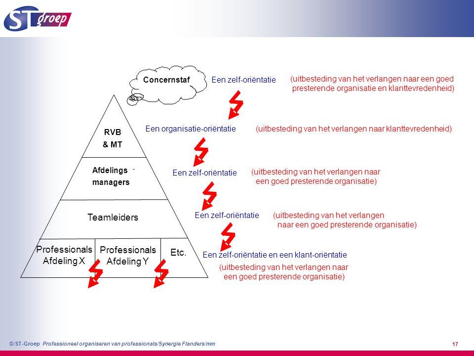 Professioneel organiseren van professionals/Synergie Flanders/mm ©/ST-Groep 17 Afdelings - managers Teamleiders Concernstaf Een organisatie-oriëntatie