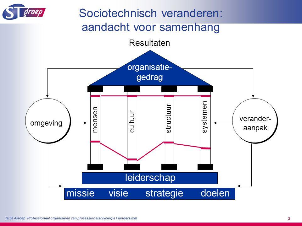 Professioneel organiseren van professionals/Synergie Flanders/mm ©/ST-Groep 2 Sociotechnisch veranderen: aandacht voor samenhang Resultaten mensen cul