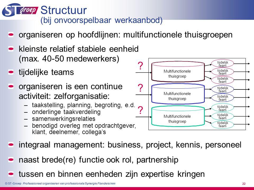 Professioneel organiseren van professionals/Synergie Flanders/mm ©/ST-Groep 22 Structuur (bij onvoorspelbaar werkaanbod) tijdelijk team ? tijdelijk te