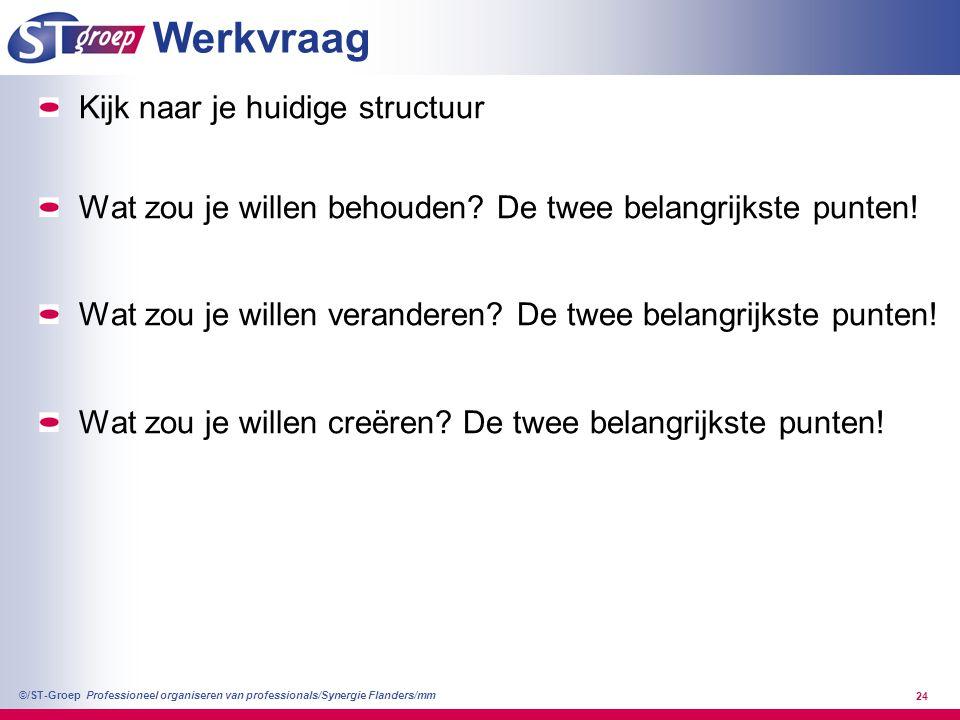 Professioneel organiseren van professionals/Synergie Flanders/mm ©/ST-Groep 24 Werkvraag Kijk naar je huidige structuur Wat zou je willen behouden? De