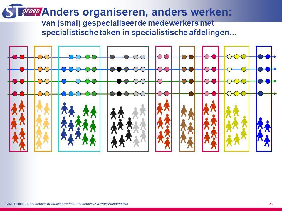 Professioneel organiseren van professionals/Synergie Flanders/mm ©/ST-Groep 27 Anders organiseren, anders werken: naar breder inzetbare medewerkers met samenhangende taken in afdelingen met focus op eigen patiëntengroep
