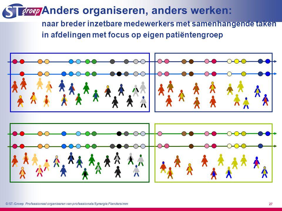 Professioneel organiseren van professionals/Synergie Flanders/mm ©/ST-Groep 28 Anders organiseren: andere groepering van taken, andere rollen en gewenst gedrag, andere functies.