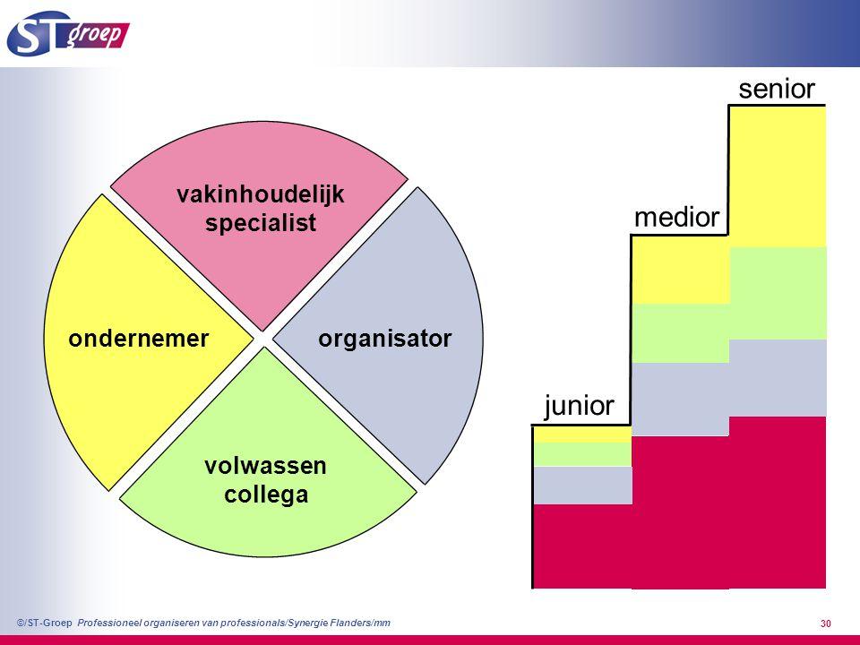 Professioneel organiseren van professionals/Synergie Flanders/mm ©/ST-Groep 30 vakinhoudelijk specialist volwassen collega organisatorondernemer junio