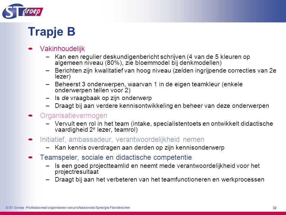 Professioneel organiseren van professionals/Synergie Flanders/mm ©/ST-Groep 32 Trapje B Vakinhoudelijk –Kan een regulier deskundigenbericht schrijven