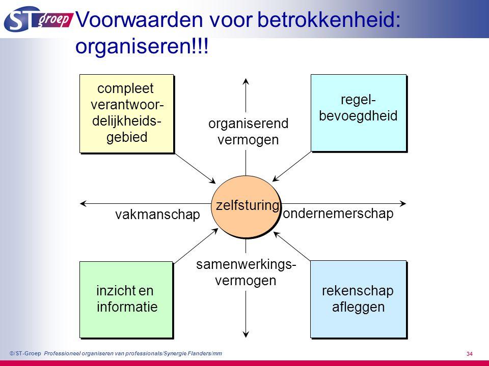 Professioneel organiseren van professionals/Synergie Flanders/mm ©/ST-Groep 34 vakmanschap ondernemerschap samenwerkings- vermogen organiserend vermog