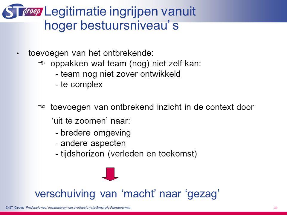 Professioneel organiseren van professionals/Synergie Flanders/mm ©/ST-Groep 39 Legitimatie ingrijpen vanuit hoger bestuursniveau' s toevoegen van het