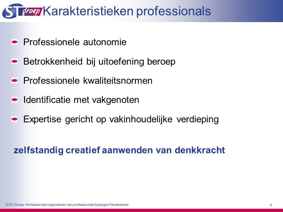 Professioneel organiseren van professionals/Synergie Flanders/mm ©/ST-Groep 5 >> 50/60 Efficiency: focus op kosten afzonderlijke taken >> 90 Innovatie: focus op individuele klanten wensen >> 70 Kwaliteit: focus op kwaliteit proces keten >> 80 Flexibiliteit: focus op flexibiliteit organisatie >> 50/60>> 70>> 80>> 90 én klant gestuurd onvoorspelbaar veel variatie aanbod gestuurd voorspelbaar weinig variatie klant vriendelijk klant gericht combinatie van prestatie eisen