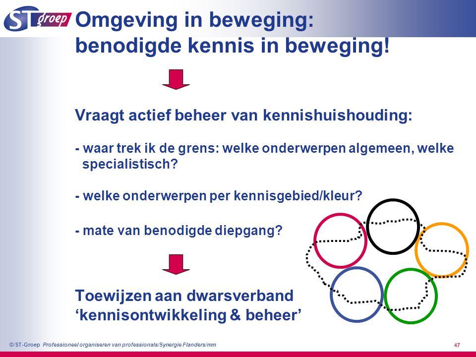 Professioneel organiseren van professionals/Synergie Flanders/mm ©/ST-Groep 47 Omgeving in beweging: benodigde kennis in beweging! Vraagt actief behee
