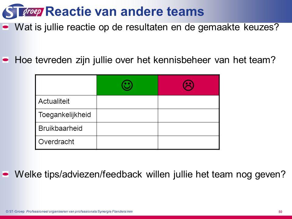 Professioneel organiseren van professionals/Synergie Flanders/mm ©/ST-Groep 50 Reactie van andere teams Wat is jullie reactie op de resultaten en de g