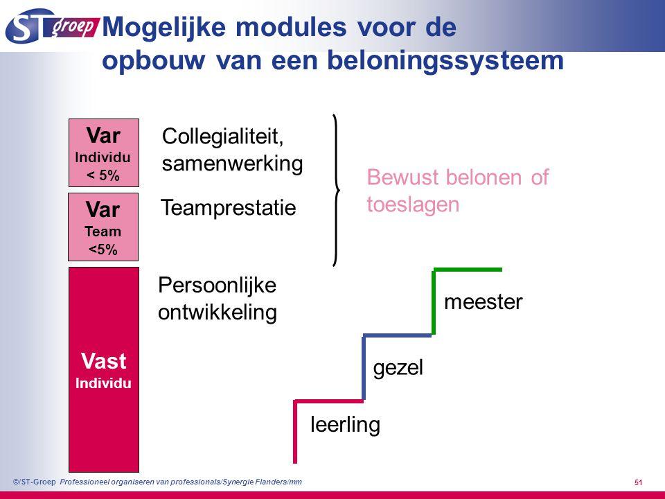 Professioneel organiseren van professionals/Synergie Flanders/mm ©/ST-Groep 51 Mogelijke modules voor de opbouw van een beloningssysteem Vast Individu