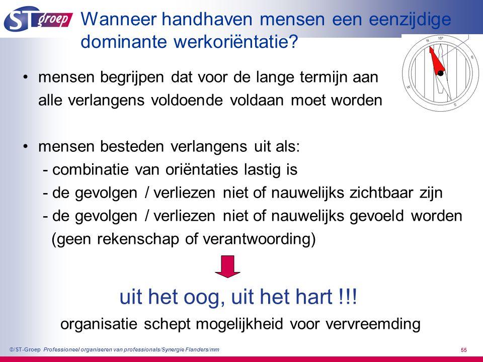 Professioneel organiseren van professionals/Synergie Flanders/mm ©/ST-Groep 55 Wanneer handhaven mensen een eenzijdige dominante werkoriëntatie? mense