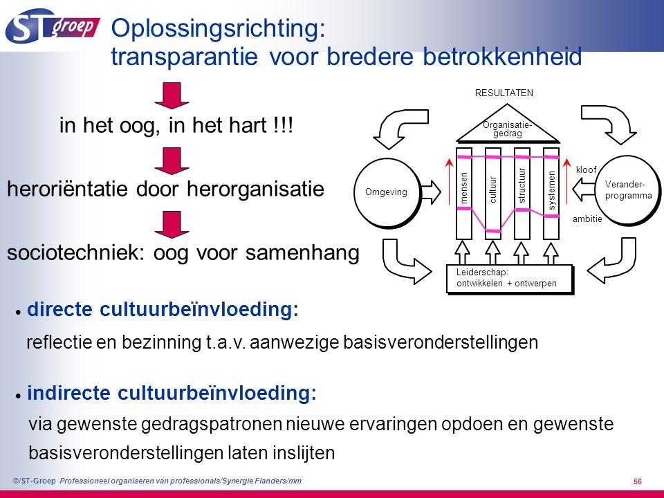 Professioneel organiseren van professionals/Synergie Flanders/mm ©/ST-Groep 57 Basisstrategieën bij hanteren stuurknoppen 1.Gezamenlijke visieontwikkeling 2.Wederzijds verantwoording vragen: oog in oog.