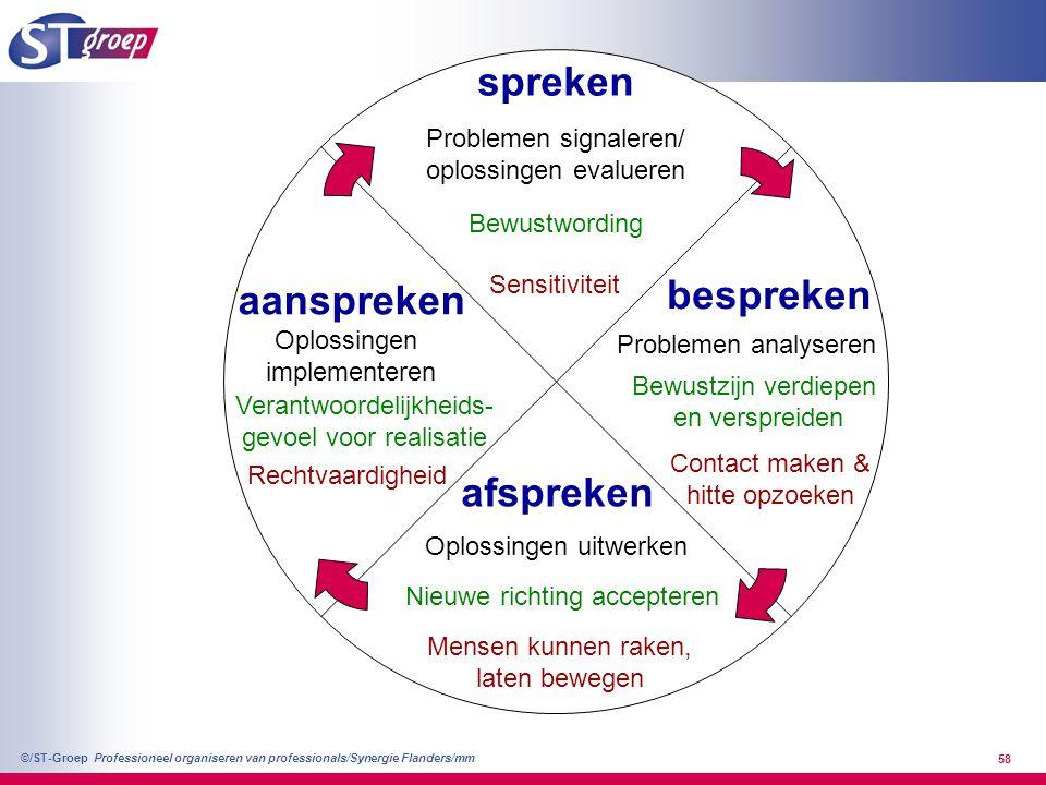 Professioneel organiseren van professionals/Synergie Flanders/mm ©/ST-Groep 58 spreken afspreken bespreken aanspreken Problemen signaleren/ oplossinge