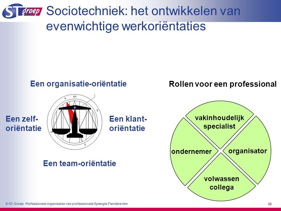 Professioneel organiseren van professionals/Synergie Flanders/mm ©/ST-Groep 59 vakinhoudelijk specialist volwassen collega organisator ondernemer Een