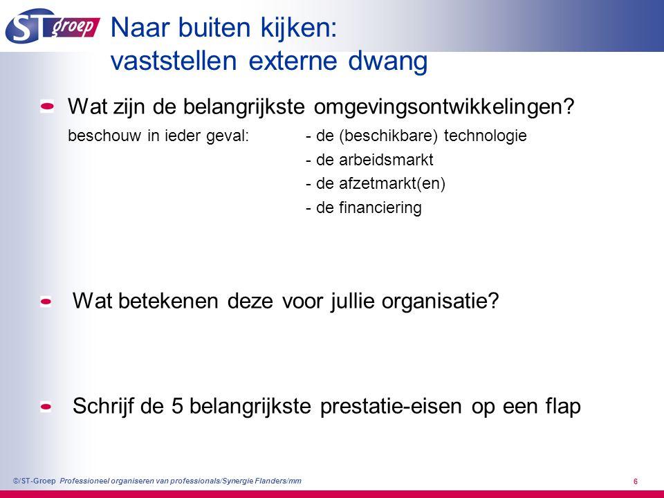 Professioneel organiseren van professionals/Synergie Flanders/mm ©/ST-Groep 6 Naar buiten kijken: vaststellen externe dwang Wat zijn de belangrijkste