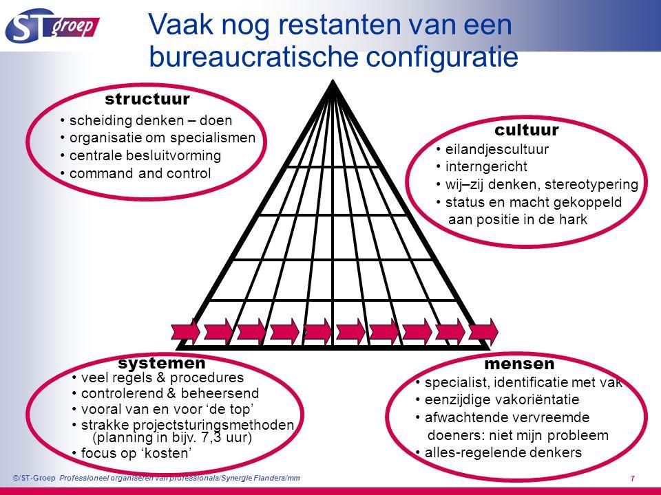 Professioneel organiseren van professionals/Synergie Flanders/mm ©/ST-Groep 7 Vaak nog restanten van een bureaucratische configuratie scheiding denken