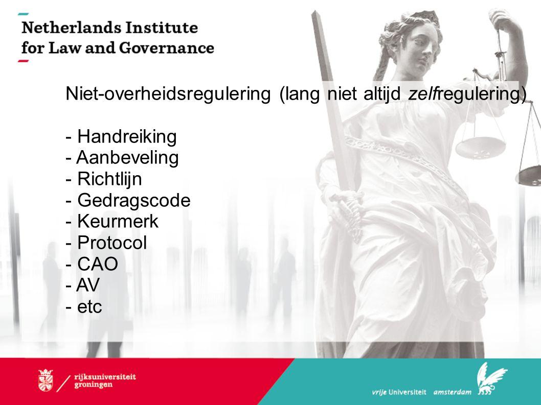 Niet-overheidsregulering (lang niet altijd zelfregulering) - Handreiking - Aanbeveling - Richtlijn - Gedragscode - Keurmerk - Protocol - CAO - AV - et
