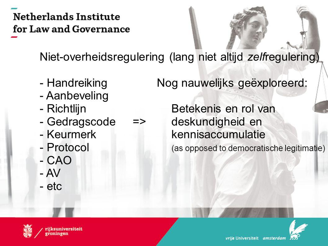 Niet-overheidsregulering (lang niet altijd zelfregulering) - HandreikingNog nauwelijks geëxploreerd: - Aanbeveling - RichtlijnBetekenis en rol van - G