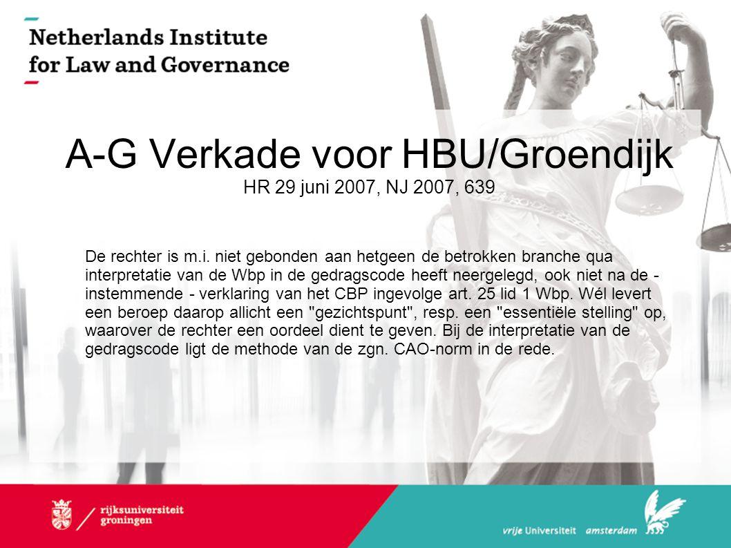 A-G Verkade voor HBU/Groendijk HR 29 juni 2007, NJ 2007, 639 De rechter is m.i. niet gebonden aan hetgeen de betrokken branche qua interpretatie van d