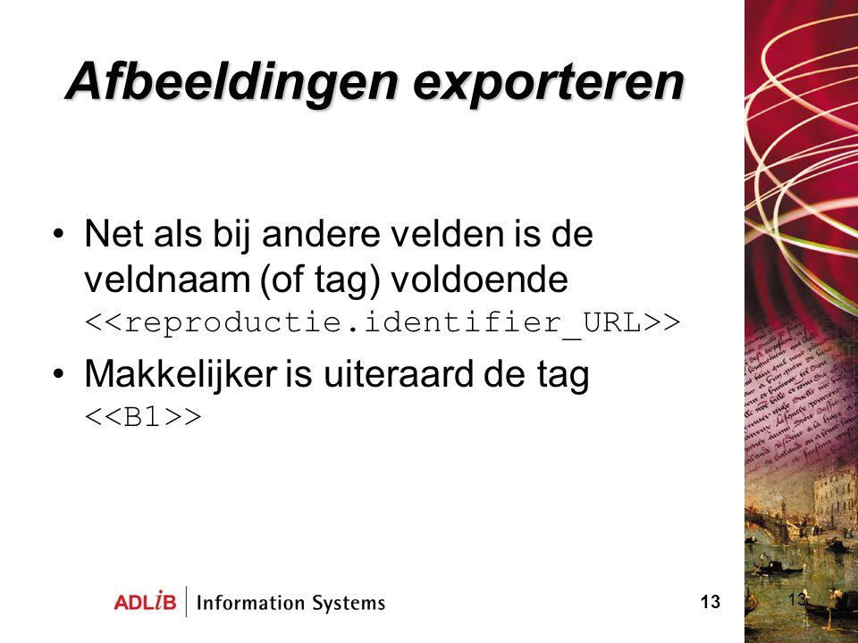 13 Afbeeldingen exporteren Net als bij andere velden is de veldnaam (of tag) voldoende > Makkelijker is uiteraard de tag > 13