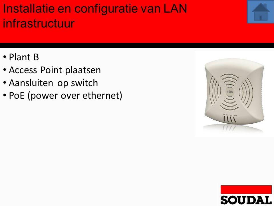 Installatie en configuratie van LAN infrastructuur Plant B Access Point plaatsen Aansluiten op switch PoE (power over ethernet)
