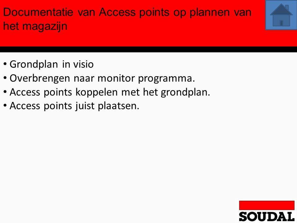 Documentatie van Access points op plannen van het magazijn Grondplan in visio Overbrengen naar monitor programma. Access points koppelen met het grond