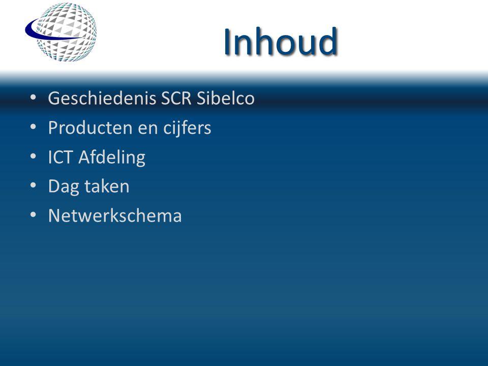 Inhoud Geschiedenis SCR Sibelco Producten en cijfers ICT Afdeling Dag taken Netwerkschema