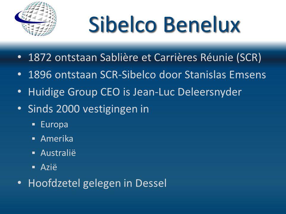 Sibelco Benelux 1872 ontstaan Sablière et Carrières Réunie (SCR) 1896 ontstaan SCR-Sibelco door Stanislas Emsens Huidige Group CEO is Jean-Luc Deleers