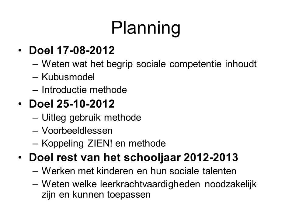 Planning Doel 17-08-2012 –Weten wat het begrip sociale competentie inhoudt –Kubusmodel –Introductie methode Doel 25-10-2012 –Uitleg gebruik methode –V