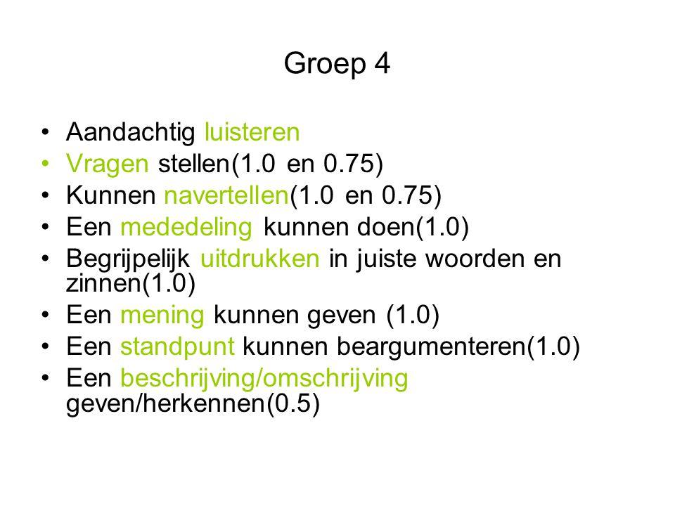 Groep 4 Aandachtig luisteren Vragen stellen(1.0 en 0.75) Kunnen navertellen(1.0 en 0.75) Een mededeling kunnen doen(1.0) Begrijpelijk uitdrukken in ju