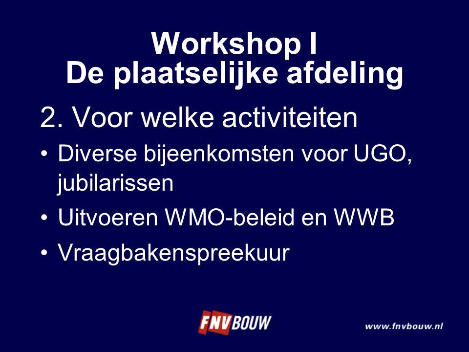 2. Voor welke activiteiten Diverse bijeenkomsten voor UGO, jubilarissen Uitvoeren WMO-beleid en WWB Vraagbakenspreekuur