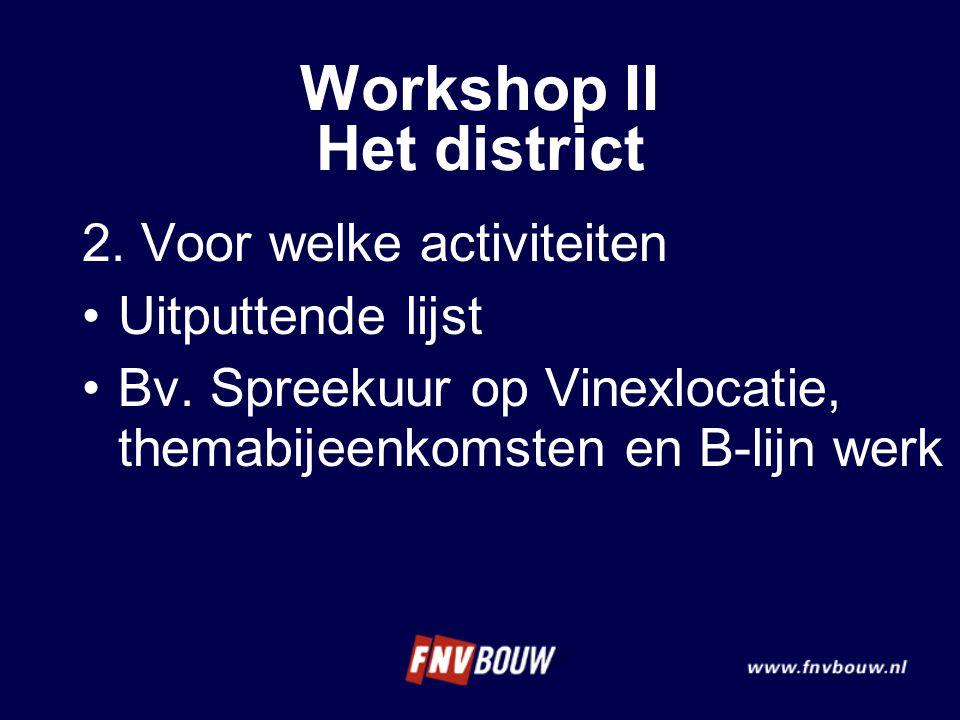 2. Voor welke activiteiten Uitputtende lijst Bv. Spreekuur op Vinexlocatie, themabijeenkomsten en B-lijn werk