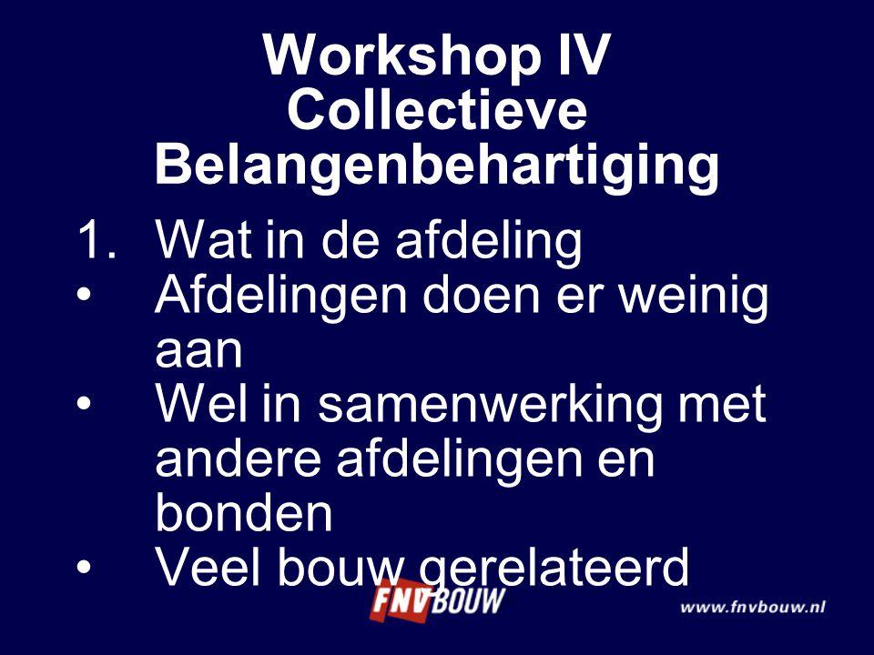 Workshop IV Collectieve Belangenbehartiging 1.Wat in de afdeling Afdelingen doen er weinig aan Wel in samenwerking met andere afdelingen en bonden Vee